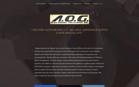 Screenshot of About Page aogelectronics.com - About Us — A.O.G. ELECTRONIC SOLUTIONS, INC. - captured Nov. 16, 2016