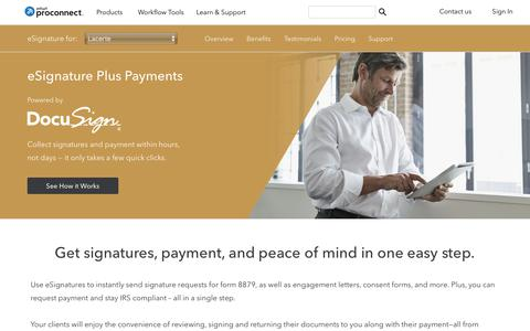 Screenshot of intuit.com - eSignature Plus Payments for Lacerte | Intuit ProConnect - captured April 24, 2018