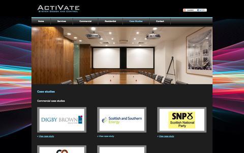 Screenshot of Case Studies Page activate-audiovisual.co.uk - Case Studies - captured Sept. 30, 2014