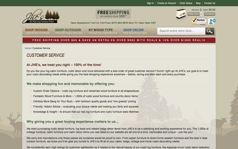 Screenshot of Support Page logfurnitureplace.com - Customer Service - captured Sept. 22, 2014