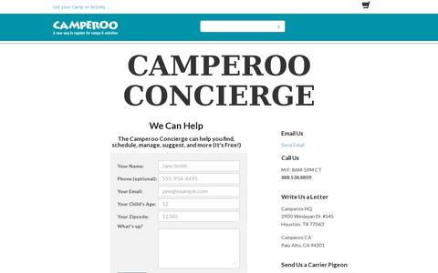 Screenshot of Support Page camperoo.com - Camperoo Marketplace | Unique Camps and Activities -- A Convenient Way to Register - captured July 19, 2014