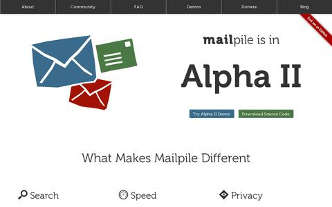 Screenshot of Home Page About Page mailpile.is - Mailpile: Let's take e-mail back! - captured July 11, 2014