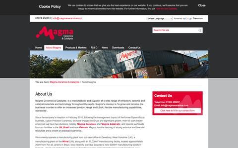 Screenshot of About Page magmaceramics.com - About Us |Magma Ceramics & Catalysts - captured Oct. 4, 2014