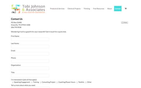 Screenshot of Contact Page tobijohnson.com - Contact Us | Tobi Johnson & AssociatesTobi Johnson & Associates - captured Oct. 9, 2014