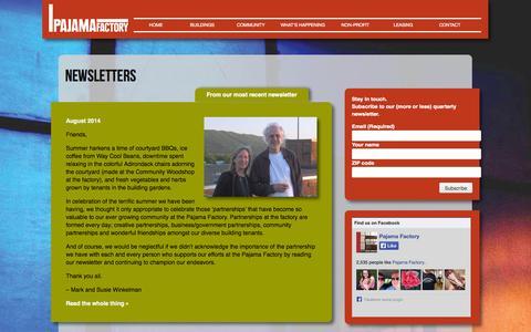 Screenshot of Signup Page pajamafactory.net - Newsletters | Pajama Factory - captured Nov. 4, 2014