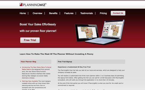 Screenshot of Trial Page planningwiz.com - PlanningWiz Online Room Planner - captured Sept. 24, 2014