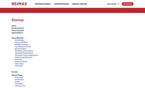 Screenshot of Site Map Page remax.com captured Dec. 19, 2017