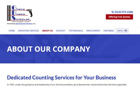 Screenshot of About Page countinv.com - Counting Services, Inventory Software | Menomonee Falls, WI - captured Nov. 10, 2018