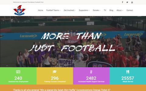 Screenshot of Home Page liverpoolhomelessfootballclub.com - Liverpool Homeless FC - Encouraging Engagement through Sport - captured July 21, 2018