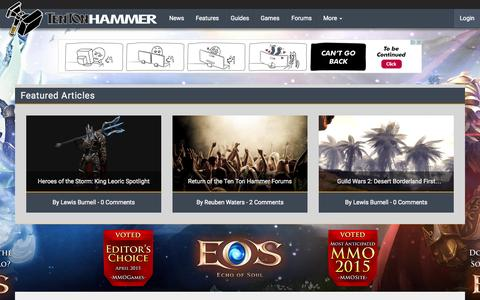 Screenshot of Home Page tentonhammer.com - Ten Ton Hammer | MMO news, guides, interviews, videos and more - captured July 16, 2015