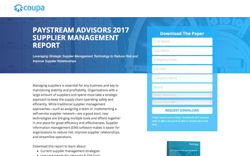 PayStream Advisors 2017 Supplier Management Report   Strategic SIM Tools and Strategies   Coupa Software