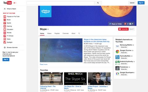 Screenshot of YouTube Page youtube.com - Skype  - YouTube - captured Oct. 26, 2014