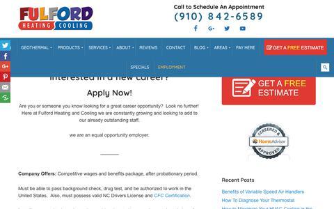 Screenshot of Jobs Page fulfordhvac.com - Employment - HVAC Installation, Repair, Maintenance Supply NC - captured Oct. 3, 2018