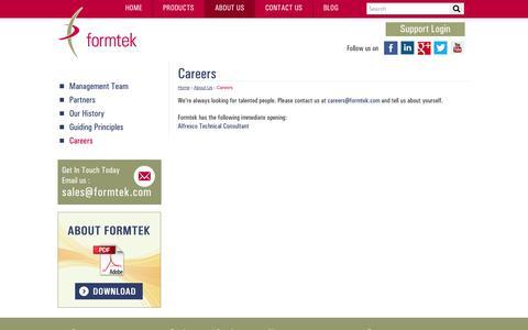 Screenshot of Jobs Page formtek.com - Career Opportunities | Current Openings | formtek - captured Oct. 27, 2014