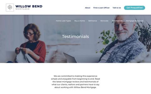 Screenshot of Testimonials Page wbm.com - Customer Mortgage Reviews & Testimonials   Willow Bend Mortgage - captured June 14, 2018