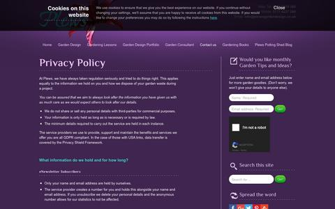 Screenshot of Privacy Page plewsgardendesign.co.uk - Privacy Policy | Plews Garden Design - captured May 23, 2018