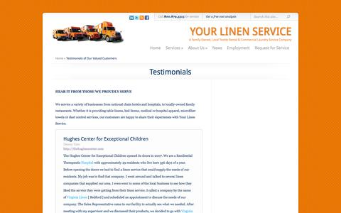 Screenshot of Testimonials Page yourlinenservice.com - Testimonials of Our Valued Customers - captured Sept. 30, 2014