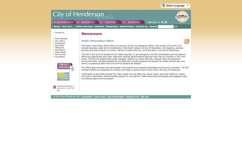 Screenshot of Press Page cityofhenderson.com - Newsroom - Public Information Office - captured Sept. 19, 2014