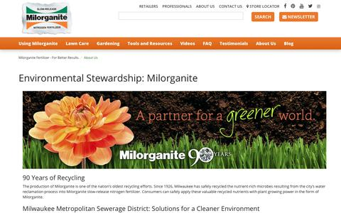 Screenshot of About Page milorganite.com - Learn more about Milorganite Fertilizer and our commitment to the environment. - captured Oct. 20, 2018