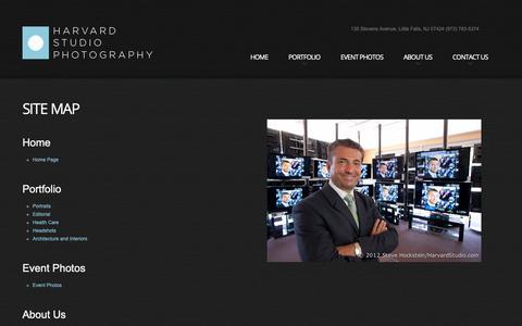 Screenshot of Site Map Page harvardstudio.com - Harvard Studio Photography + Video Site Map| Steve Hockstein, Little Falls, NJ - captured Sept. 27, 2018