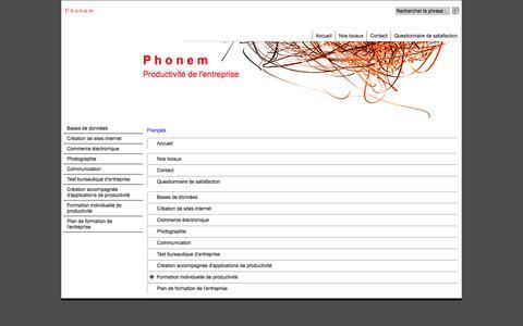 Screenshot of Site Map Page Menu Page phonem.fr - Carte du site - captured March 13, 2016
