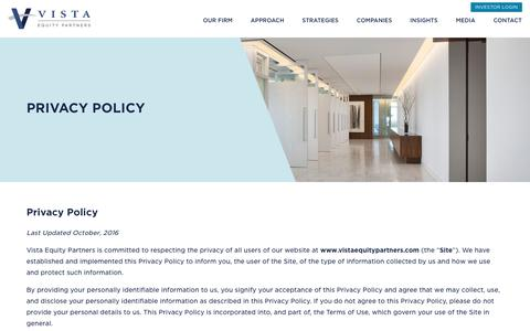Screenshot of Privacy Page vistaequitypartners.com - Privacy - Vista Equity Partners - captured April 23, 2017