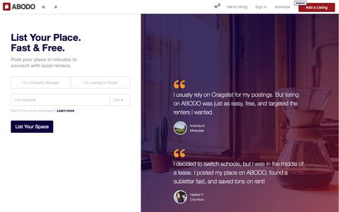 Screenshot of Signup Page abodo.com - List your Apartment Rental Property for Free | ABODO - captured Oct. 4, 2018