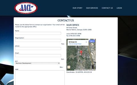 Screenshot of Contact Page aacl.aero - Aging Aircraft Consulting LLC - Maintenance and Sustainment Solutions for Military & Aging Aircraft - captured Oct. 4, 2014