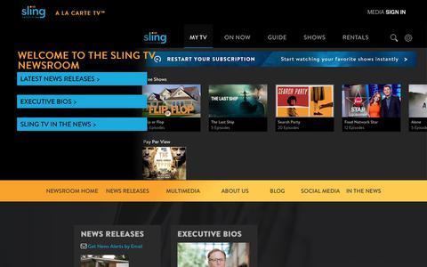 Screenshot of Press Page sling.com - Sling TV - WELCOME TO THE SLING TV NEWSROOM - captured Oct. 21, 2018