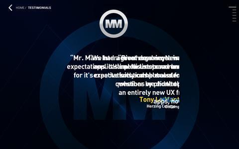 Screenshot of Testimonials Page mrmass.com - Testimonials | Mr.Mass Interactive | Ancient Communications Design© | Create With Us. - captured Oct. 1, 2018