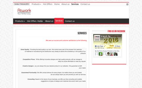 Screenshot of Services Page atwork-eg.com - Services | ::: Atwork ::: - captured Feb. 7, 2016