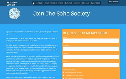 Screenshot of Signup Page thesohosociety.org.uk - Join the Soho Society | The Soho Society - captured Aug. 15, 2016