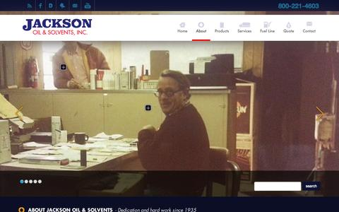 Screenshot of About Page jacksonoilsolvents.com - About - Jackson Oil & Solvents - captured Oct. 6, 2014