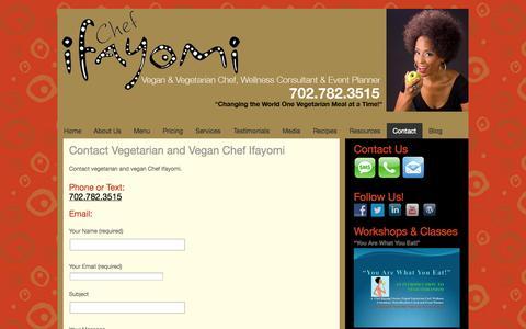 Screenshot of Contact Page ifayomi.com - Contact Vegetarian and Vegan Chef Ifayomi - Ifayomi - captured Oct. 6, 2014