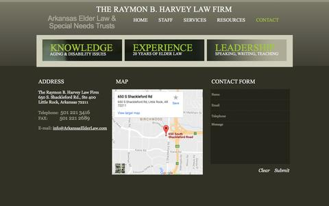 Screenshot of Contact Page Maps & Directions Page arkansaselderlaw.us - Arkansas Elder Law -  Contacts - captured April 8, 2017