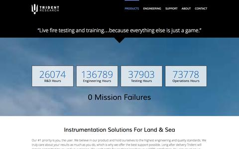 Screenshot of Products Page tridentresearch.com - PRODUCTS | TRIDENT RESEARCH - captured Oct. 7, 2014