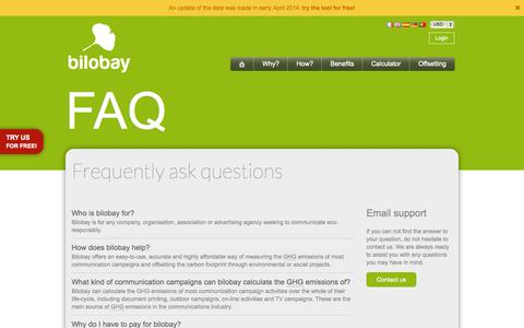 Screenshot of FAQ Page bilobay.com - FAQ | bilobay - captured Sept. 30, 2014