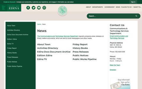 Screenshot of Press Page edinamn.gov - News | Edina, MN - captured Sept. 28, 2018