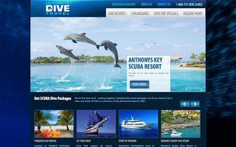 Screenshot of Home Page ultimatedivetravel.com - The Best SCUBA Diving Resorts   Liveaboards   Ultimate Dive Travel - captured Oct. 4, 2014