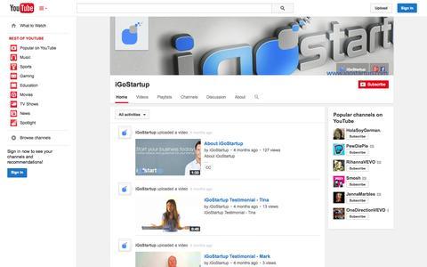 Screenshot of YouTube Page youtube.com - iGoStartup  - YouTube - captured Oct. 23, 2014