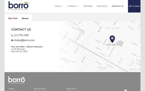 Screenshot of Contact Page borro.com - Contact Us - Borro - captured Feb. 18, 2020