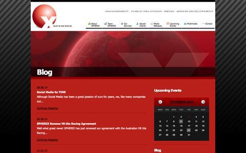 Screenshot of Blog spherix.com.au - SPHERIX - captured Oct. 3, 2014