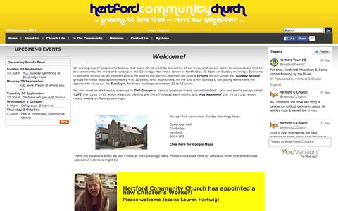 Screenshot of Home Page hertfordcommunitychurch.org - Hertford Community Church - captured Sept. 30, 2014