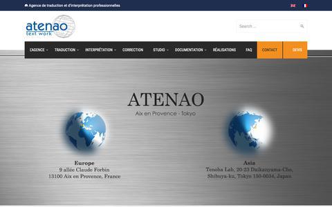 Screenshot of Contact Page atenao.com - Contact - Atenao - captured Oct. 4, 2018