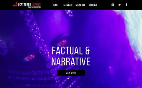 Screenshot of Home Page scatteredimages.co.uk - Scattered Images - TV & Film Production - Belfast - captured Feb. 4, 2016