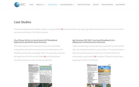 Screenshot of Case Studies Page metricsystems.com - Metric Systems' White Space Radio Case Studies - captured Oct. 18, 2018