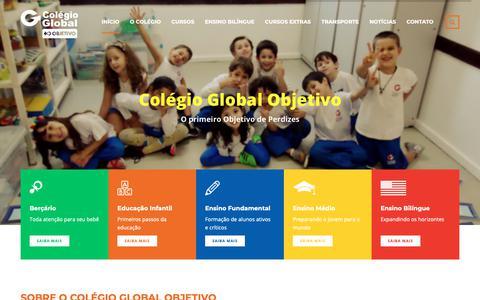 Screenshot of Home Page colegioglobal.com - Colégio Global Objetivo – O primeiro Objetivo de Perdizes - captured Nov. 5, 2018
