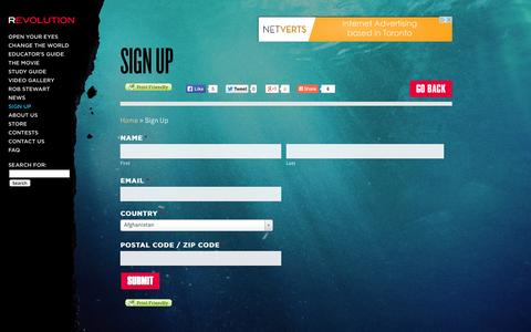 Screenshot of Signup Page therevolutionmovie.com - Sign Up - Revolution - captured Oct. 5, 2014