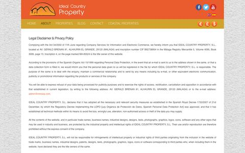 Screenshot of Privacy Page idealcountryproperty.com - Legal Disclaimer & Privacy Policy - Ideal Country Property - captured Nov. 3, 2014