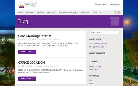 Screenshot of Press Page ontario.org - Newsroom - Ontario Chamber of Commerce - captured Feb. 2, 2018